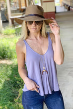 Load image into Gallery viewer, FEELING YOUR BEST RIBBED V-NECK TANK TOP-LAVENDER - Infinity Raine