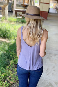 FEELING YOUR BEST RIBBED V-NECK TANK TOP-LAVENDER - Infinity Raine