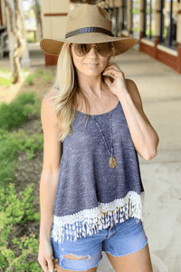 SIMPLER TIMES LACE KNIT TANK-NAVY - Infinity Raine
