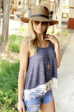 Load image into Gallery viewer, SIMPLER TIMES LACE KNIT TANK-NAVY - Infinity Raine