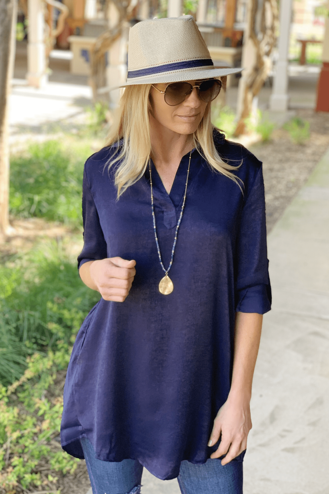 UP YOUR STYLE TUNIC DRESS-NAVY - Infinity Raine