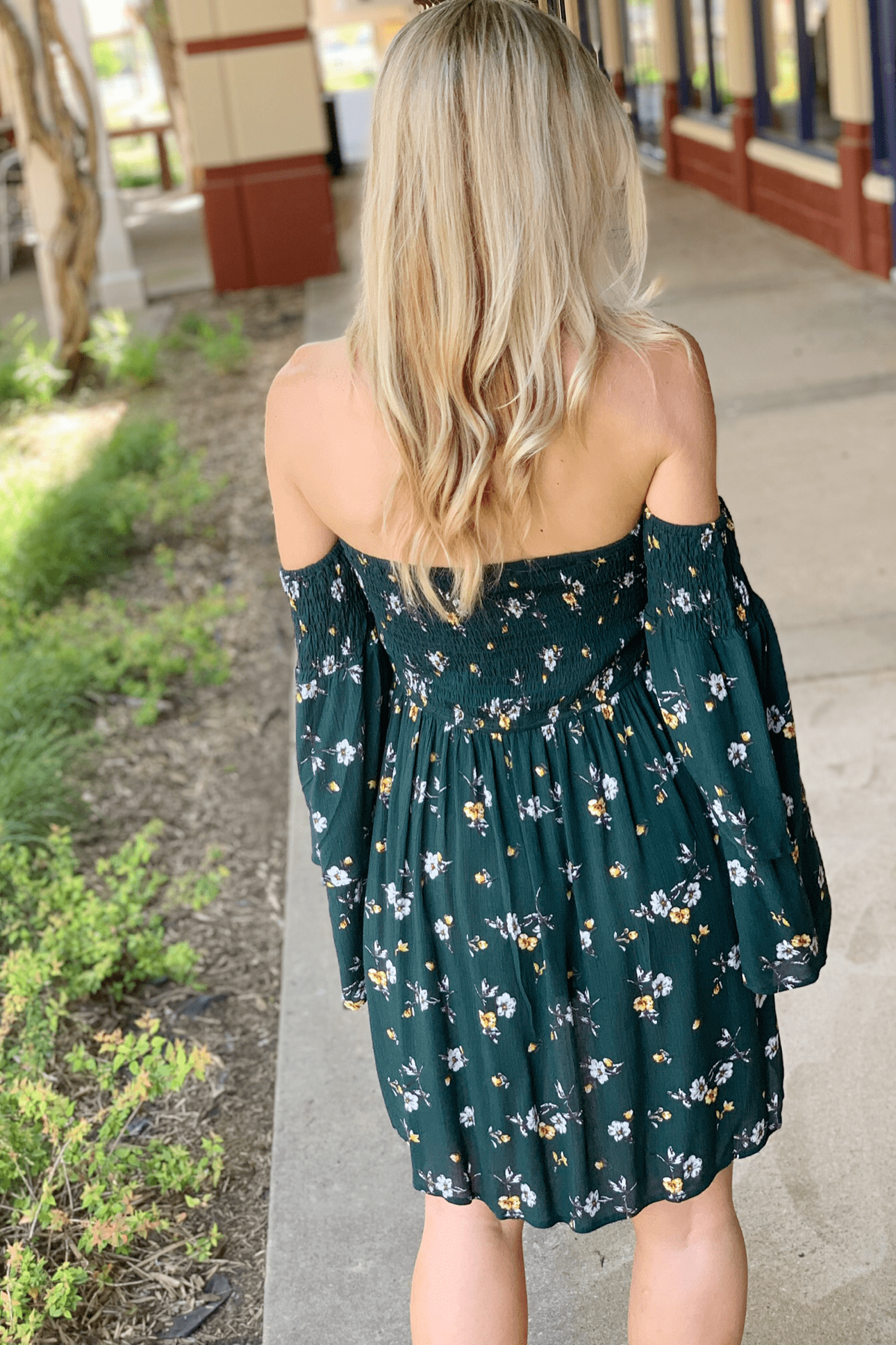 KEEP IT SWEET OFF SHOULDER FLORAL DRESS-EVERGREEN - Infinity Raine