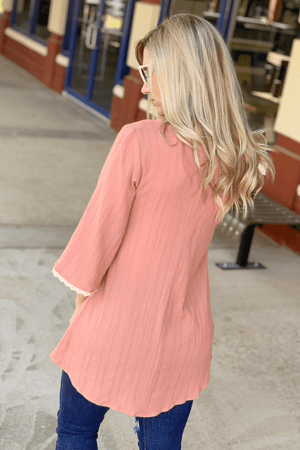 KEEPING YOU HAPPY V-NECK TUNIC-BLUSH - Infinity Raine