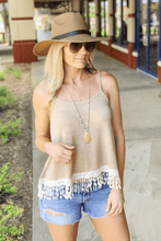 Load image into Gallery viewer, SIMPLER TIMES LACE KNIT TANK-TAN - Infinity Raine