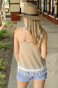 SIMPLER TIMES LACE KNIT TANK-TAN - Infinity Raine