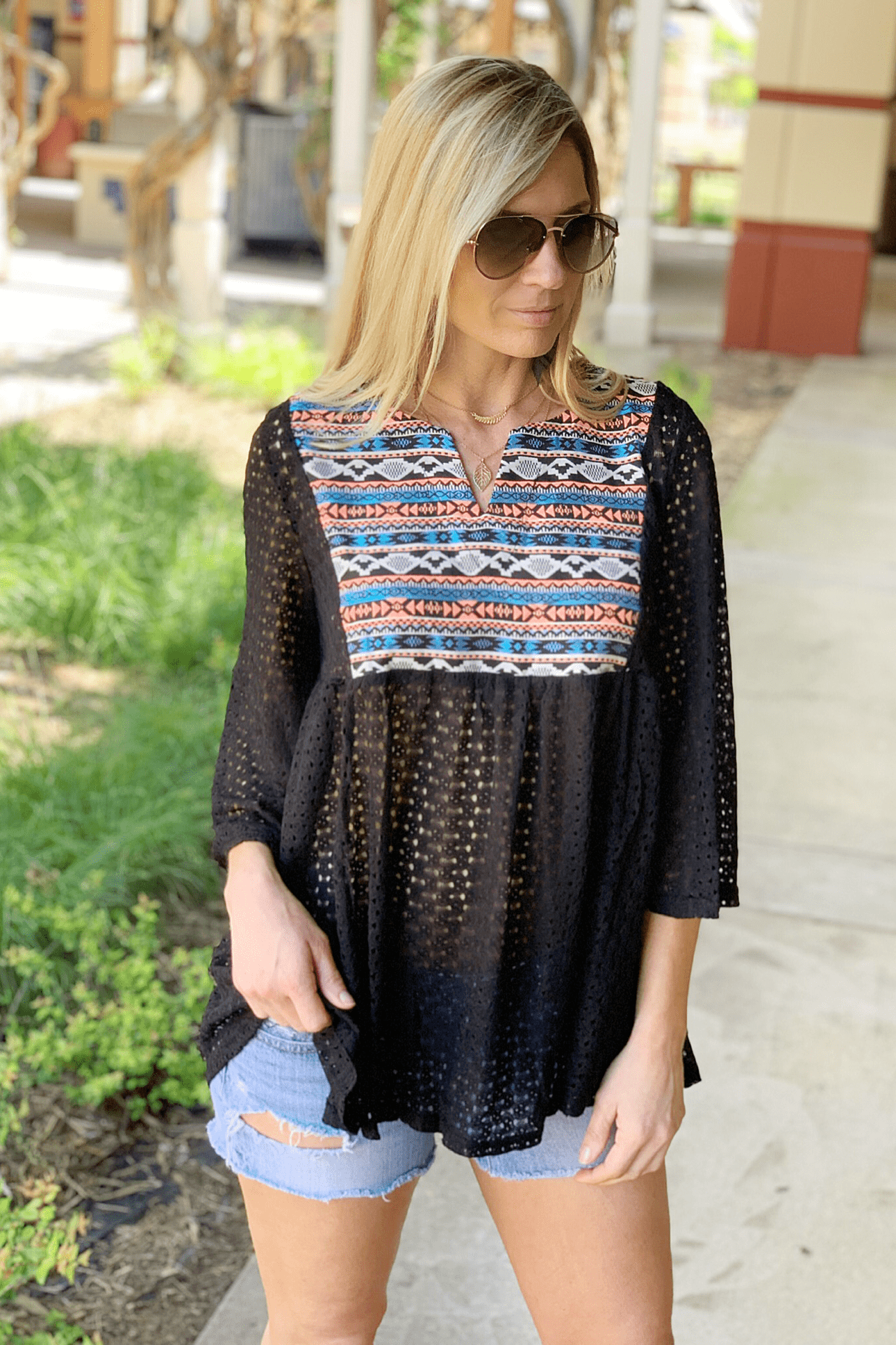 BOHEMIAN SEMI SHEER LACE TUNIC-BLACK - Infinity Raine