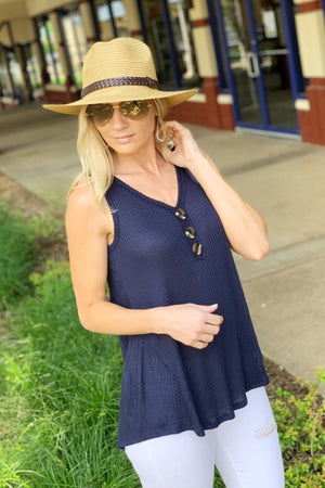 EASY BREEZY DAYS BUTTON FRONT TOP-NAVY - Infinity Raine
