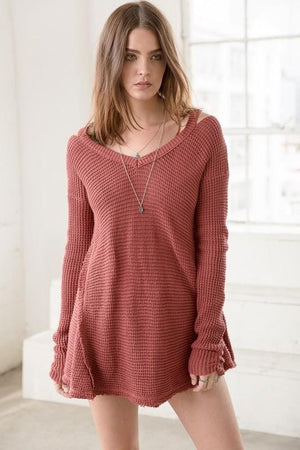 SWING BY HI/LO SWEATER TUNIC -RUST - Infinity Raine