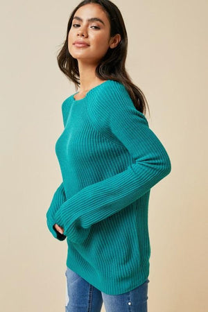 LIFE OF COMFORT RIBBED SWEATER-TEAL - Infinity Raine