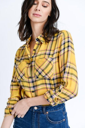 PLAID BUT TRUE BUTTON UP TOP-YELLOW - Infinity Raine