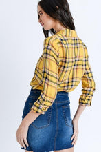 Load image into Gallery viewer, PLAID BUT TRUE BUTTON UP TOP-YELLOW - Infinity Raine