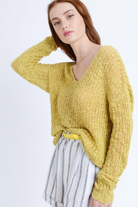 IN THE KNIT OF TIME SWEATER-YELLOW - Infinity Raine