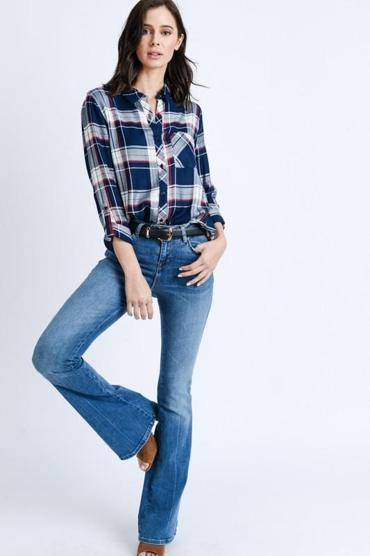 PLAID BUT TRUE BUTTON UP TOP-NAVY - Infinity Raine