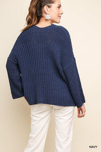 CASUAL MOOD CHENILLE KNIT SWEATER-NAVY - Infinity Raine