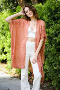 ALL I NEED OPEN WEAVE SEQUIN KIMONO-COPPER - Infinity Raine