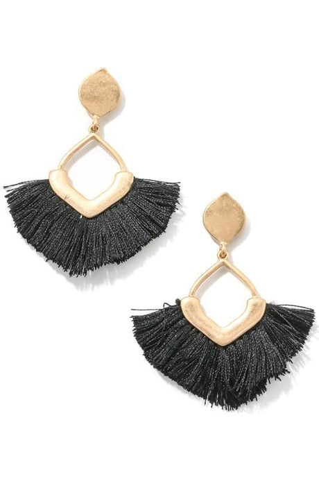 CHIC PERSONA FRINGE EARRINGS-BLACK - Infinity Raine