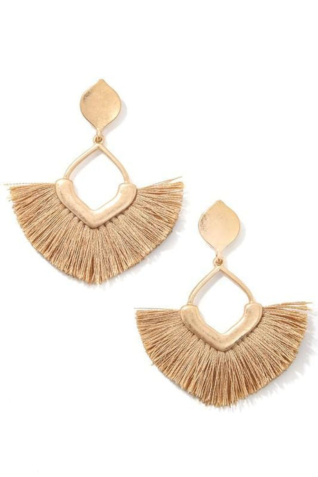 CHIC PERSONA FRINGE EARRINGS-BROWN