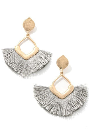 CHIC PERSONA FRINGE EARRINGS-GRAY - Infinity Raine