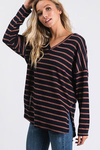 CASUAL DAYS STRIPED TOP-NAVY - Infinity Raine