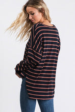 Load image into Gallery viewer, CASUAL DAYS STRIPED TOP-NAVY - Infinity Raine