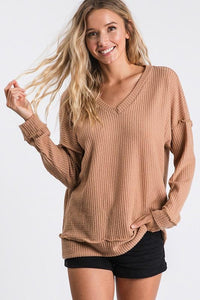 GIVE ME ALL THE JOY WAFFLE KNIT TOP-TAUPE - Infinity Raine