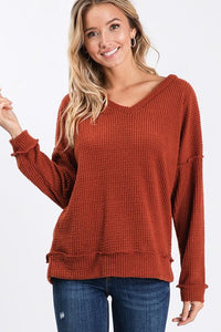 GIVE ME ALL THE JOY WAFFLE KNIT TOP-BRICK - Infinity Raine