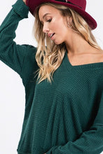 Load image into Gallery viewer, GIVE ME ALL THE JOY WAFFLE KNIT TOP-HUNTER GREEN - Infinity Raine