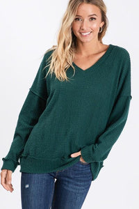 GIVE ME ALL THE JOY WAFFLE KNIT TOP-HUNTER GREEN - Infinity Raine