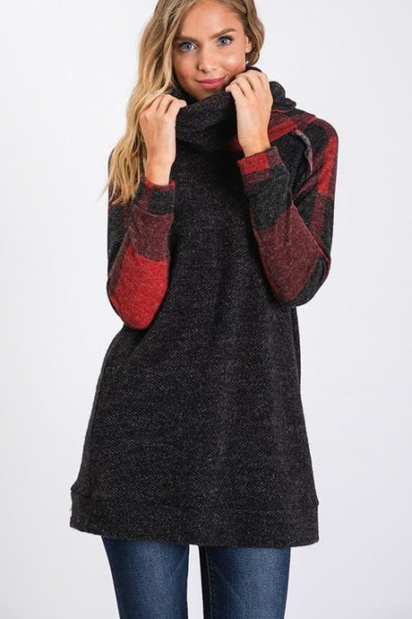 YOU'LL BE OK TURTLENECK TUNIC TOP-CHARCOAL/PLAID