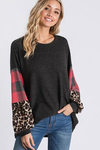 COLOR BLOCK BUBBLE SLEEVE TUNIC TOP-CHARCOAL - Infinity Raine