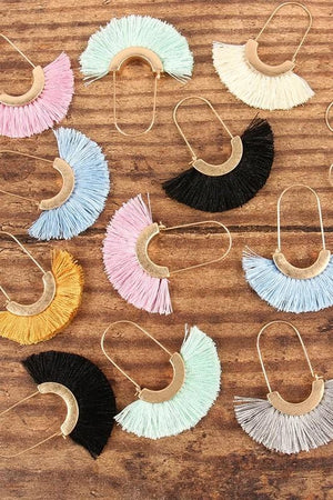 SEE YOU MOVE TASSEL TRIM EARRINGS-IVORY, LIGHT GREY, MINT, PINK - Infinity Raine