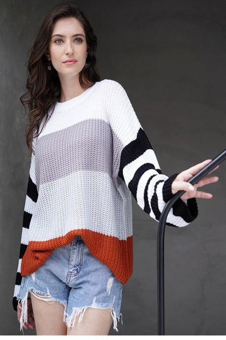 OUTSIDE THE LINES STRIPED SWEATER - Infinity Raine