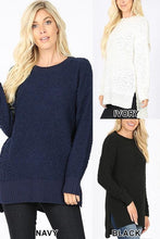 Load image into Gallery viewer, ALL ABOUT IT PLUS SIZE SWEATER-NAVY - Infinity Raine