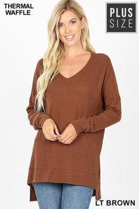 CHILL BY CHOICE PLUS SIZE TUNIC SWEATER-LIGHT BROWN - Infinity Raine