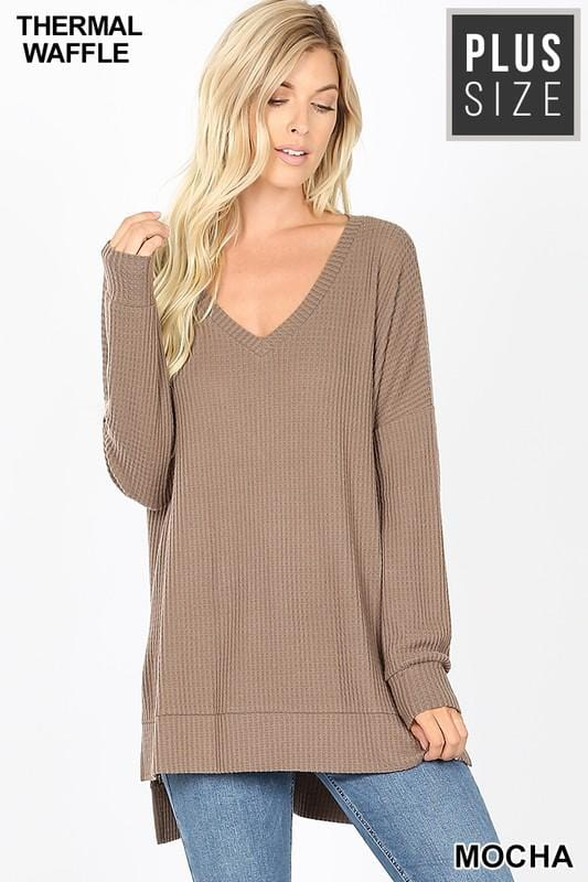 CHILL BY CHOICE PLUS SIZE TUNIC SWEATER-MOCHA - Infinity Raine