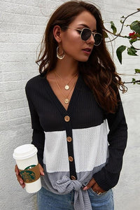 I'M LOVING IT WAFFLE KNIT TOP-BLACK - Infinity Raine
