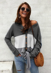 I'M LOVING IT WAFFLE KNIT TOP-GREY - Infinity Raine