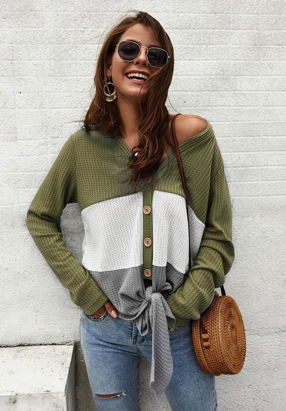 I'M LOVING IT WAFFLE KNIT TOP-GREEN - Infinity Raine