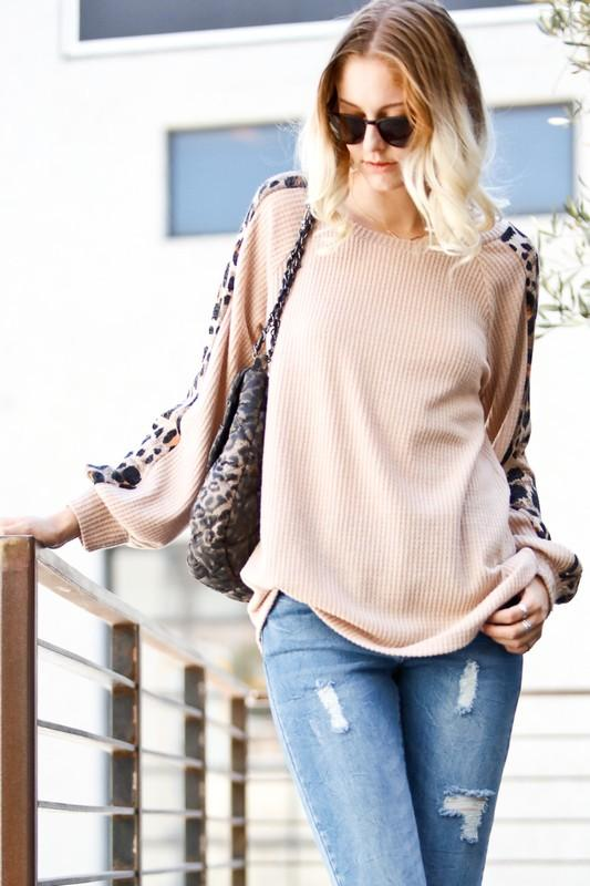 DANGEROUSLY CUTE WAFFLE KNIT TOP W/ANIMAL PRINT SLEEVES-TAUPE - Infinity Raine