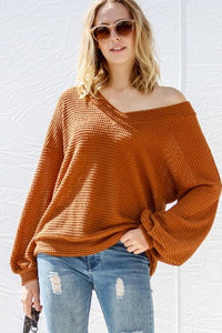 RELAXING V-NECK LONG SLEEVE TOP-RUST - Infinity Raine