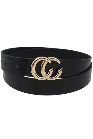 CC SKINNY FAUX SNAKESKIN BELT-BLACK/RED/BROWN - Infinity Raine
