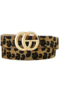 FIT FOR YOU LEOPARD HARION FAUX LEATHER BELT W/GO BUCKLE - Infinity Raine