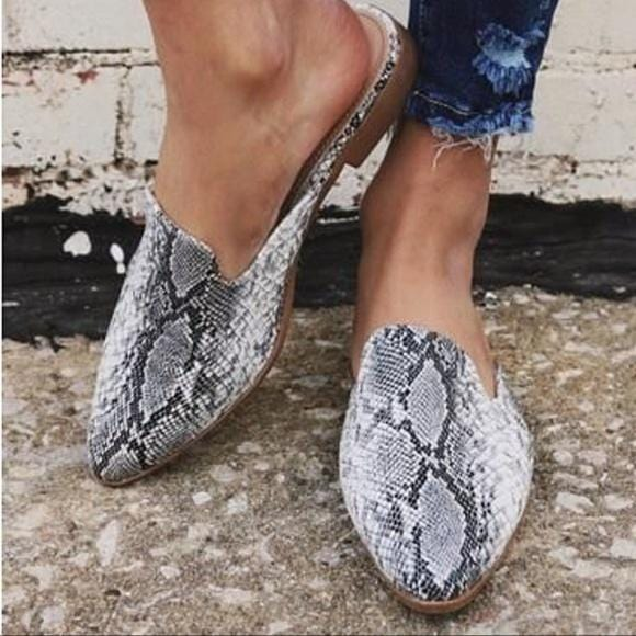 SASSY SITUATIONS SLIP ON MULES-SNAKESKIN - Infinity Raine