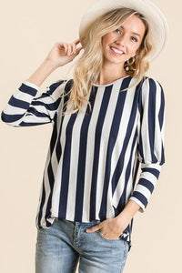 LOVELY LADY STRIPED TOP-NAVY/WHITE - Infinity Raine