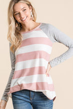 Load image into Gallery viewer, GATHERING MY THOUGHTS STRIPED TOP-BLUSH - Infinity Raine