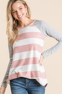 GATHERING MY THOUGHTS STRIPED TOP-BLUSH - Infinity Raine
