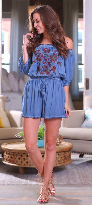 DREAM AWAY ROMPER-VINTAGE BLUE - Infinity Raine