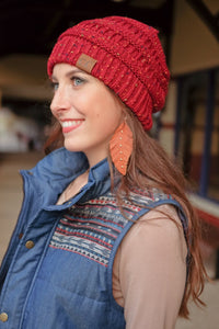 BEAT THE CHILL BEANIE-BURGUNDY - Infinity Raine