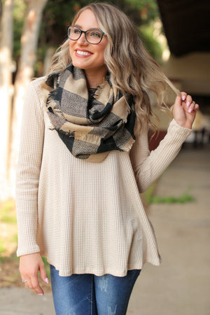 NO PLACE LIKE HOME SCARF-BEIGE/BLACK - Infinity Raine