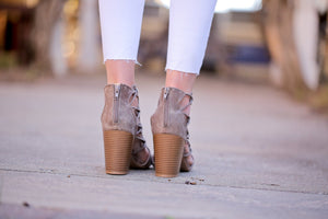 STEP IN TO THIS DISTRESSED PEEP TOE BOOTIE-TAUPE - Infinity Raine